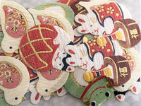 Traditional Japanese Washi Stickers / Seal bits - Japanese Papier-mache