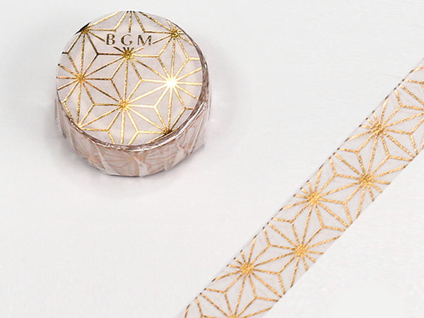 Yamato Japan Beauty Washi Masking Tape - 15mm Japanese Leaves with gold foil stamped