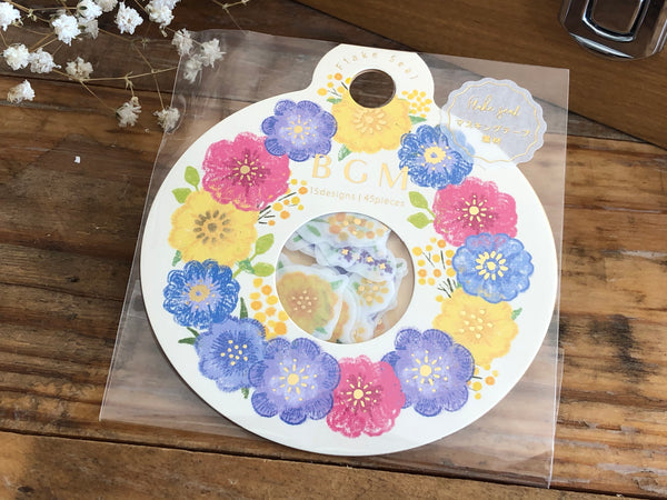 Japanese Washi Masking Stickers / Seal bits - Anemone