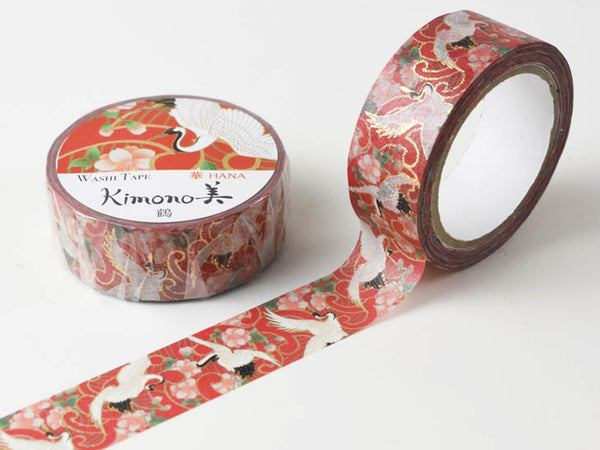 Kimono Beauty Yuzen Washi Masking Tape - 15mm Japanese Crane