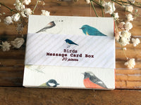 Picture Book Style Mini Message Cards in a matchbox / Birds