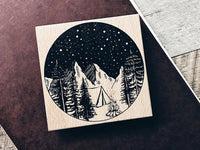 Lihao Paper / Original Wood Rubber Stamp - Big Starry Night Stamp / Campfire