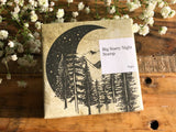Lihao Paper / Original Wood Rubber Stamp - Big Starry Night Stamp / Night