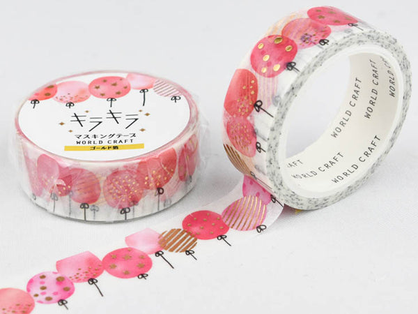 Japanese Washi Masking Tape with gold foil stamped - Ballon