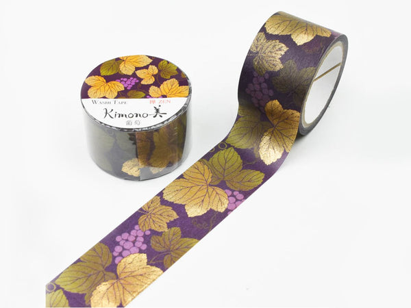 Kimono Beauty Yuzen Washi Masking Tape with gold foil stamped - 25mm Grapes