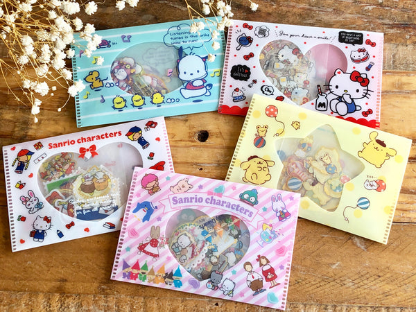 Sanrio Clear Flake Stickers / Seal Bits with Silver Foil Edging