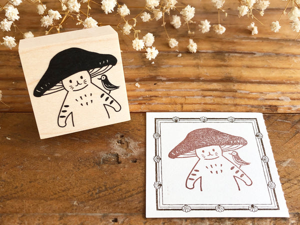 Kinoko Neko Japanese Wooden Rubber Stamp - Hello!