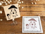 Kinoko Neko Japanese Wooden Rubber Stamp - Good Friends