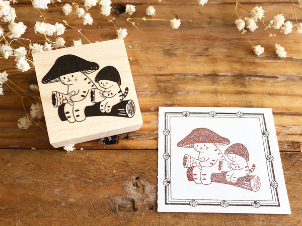 Kinoko Neko Japanese Wooden Rubber Stamp - Sharing
