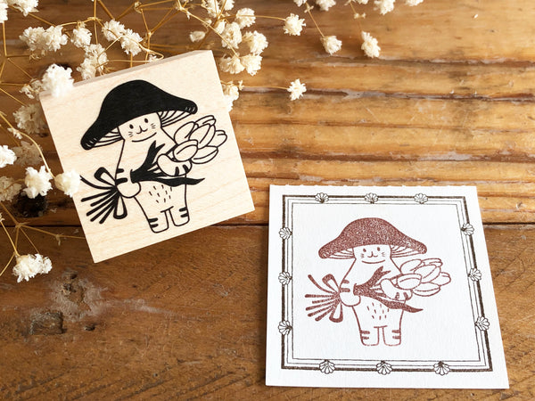 Kinoko Neko Japanese Wooden Rubber Stamp - Thank You!