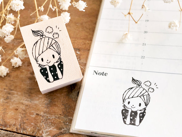 Nonnlala Original Rubber Stamp - Thinking Girl