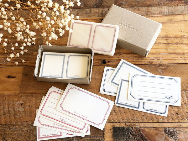 Oeda Original Letterpress Label Sticker - BoxBlue & Red (72 Pieces)