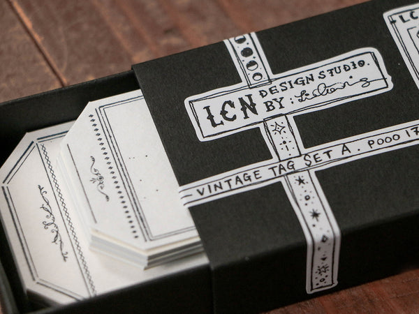 Lin Chia Ning / Letterpress Vintage tag - set A.(Tag-shaped)