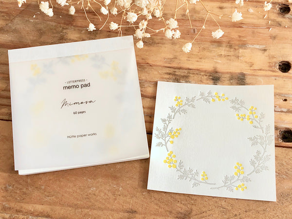 High Quality Botanical Garden Letterpress Memo Pad - Mimosa
