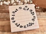 Japanese Botanical Garden Wooden Rubber Stamp - Flower Wreath