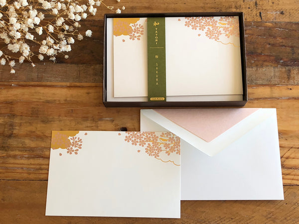 Japanese Gold Foil Letter Pressed Card with envelope - Sakura Cherry Blossoms on High Quality Paper