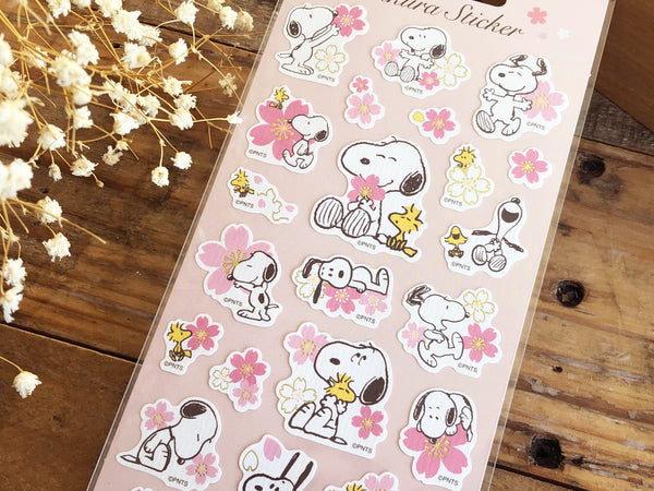 Sheet of Stickers / Snoopy & Flowers masking cleak stickers