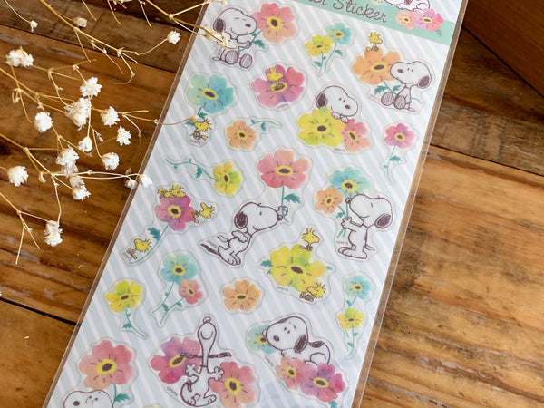 Sheet of Clear Stickers with glitter / Snoopy & Flowers