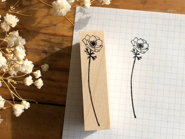 Kubominoki Original Botanical Rubber Stamp - Anemones
