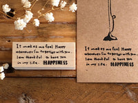 Kubominoki Original Wooden Rubber Stamp - Happiness