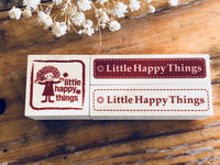 Little Happy Things Original Wooden Rubber Stamp - Happy Label (Night)