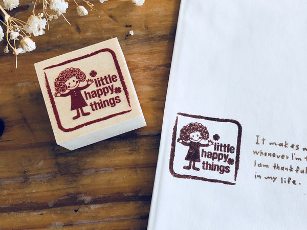 Little Happy Things Original Wooden Rubber Stamp - Happy Seal