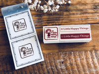 Little Happy Things Original Wooden Rubber Stamp - Happy Label (Day)