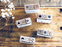 Tiny Geometric Shape Wooden Rubber Stamp sets