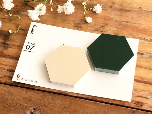 Die-cut Sticky Index Tabs / One Point Sticker - Natural White and Green Hexagonss