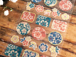 Tradtional Japanese Style Masking Sheet of Sticker - Blue and Pink Flower Patterns