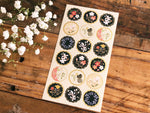 Tradtional Japanese Style Sheet of Sticker - Black Flower Patterns