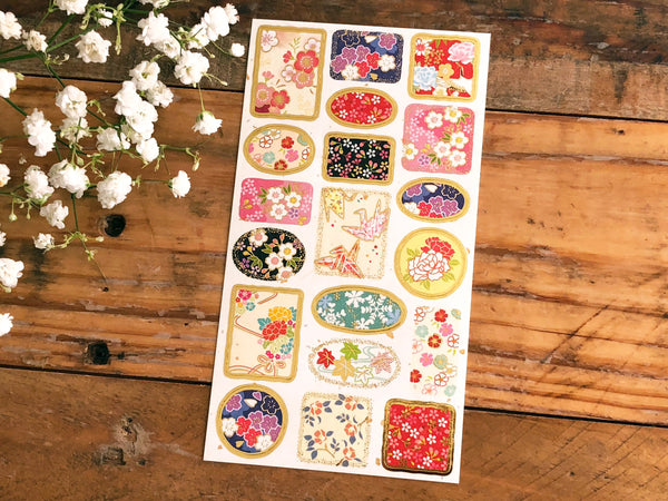 Tradtional Japanese Style Sheet of Sticker - Kimono Patterns