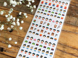 One Point mini tiny Washi Stickers / Seals - Traditional Japanese Design (Boy Prince)