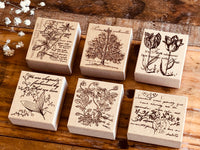 Botanic Wooden Stamp - Violet for Art Journaling, Snail Mail, Packaging, Scrapbooking