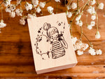 Nonnlala Original Rubber Stamp - Girl with Cotton Candy