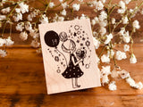 Nonnlala Original Rubber Stamp - Girl with Balloons