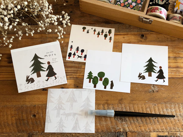 Square Cube Memo Pad - Forest by Nishi Shuku