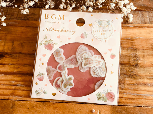 Japanese Washi Masking Stickers / Seal bits - Strawberry