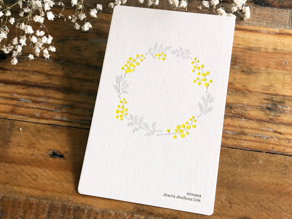 High Quality Botanical Garden Letterpress Postcard - Mimosa Wreath