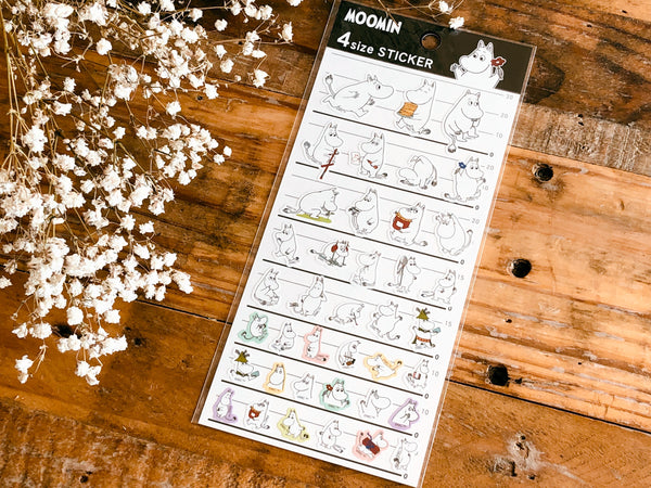 Clear Sheet of Stickers / Moomin 4 Size Stickers