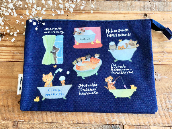 E.minette 3 ROOM Canvas Pouch - Blue