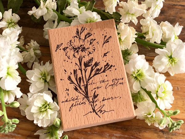 Meow / Beech wood stamp - Flower A