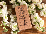 Meow / Beech wood stamp - Flower B