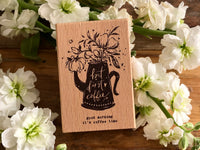 Meow / Beech wood stamp - but first coffee