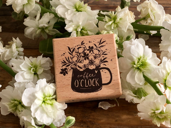 Meow / Beech wood stamp - Coffee o'clock