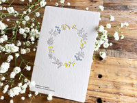 High Quality Botanical Garden Letterpress Postcard - wreath