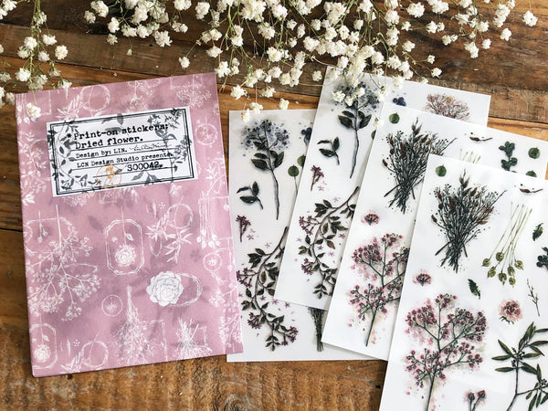 Lin Chia Ning / Pring-on sticker Set - Dried Flower 4 Sheets