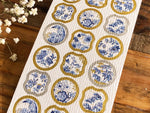 Tradtional Japanese Style Sheet of Sticker - Blue and White Porcelain
