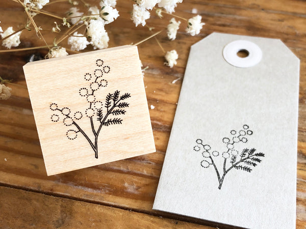 Japanese Botanical Garden Wooden Rubber Stamp - Mimosa