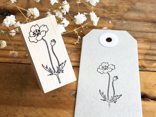 Japanese Botanical Garden Wooden Rubber Stamp - Poppy flower